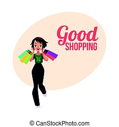 Happy shopping poster, banner with girl, woman holding many bags
