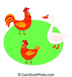 Cute, funny farm birds - rooster, hen, goose - on the pasture