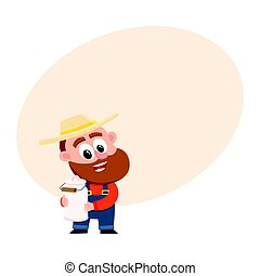 Funny farmer, gardener character holding retro style milk can, canister
