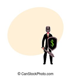 Businessman as knight in metal helmet holding sword and shield