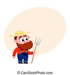 Funny farmer, gardener character in overalls holding hayfork, pitchfork