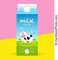 Milk package template - Design packaging for milk with a cow...