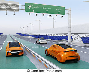 Electric cars driving on the wireless charging lane of the...