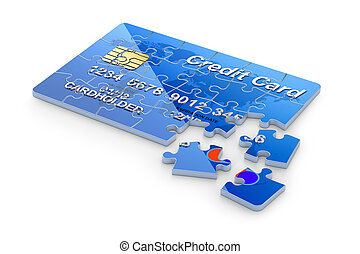 3D concept with credit card puzzle