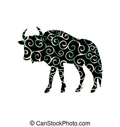 Wildebeest antelope mammal color silhouette animal. Vector...
