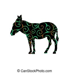 Donkey farm mammal color silhouette animal. Vector...