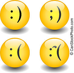 Txt Smileys - Happy & Sad - A set of smiley icons with the...