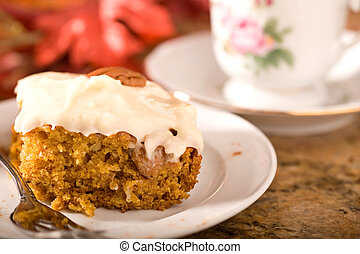 Pumpkin Cake with Frosting - Delicious pumpkin cake with...