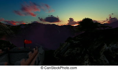 Aerial view of Great wall of China, timelapse sunrise