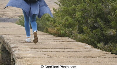 Young female tourist with backpack walking on stone trail...