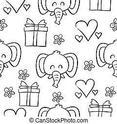 Doodle of elephant circus hand draw vector art