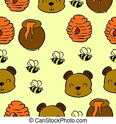 Collection bear and honey pattern style
