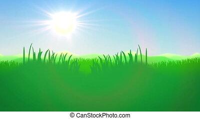 Green Grass field against a blue day sky. Natute, grass,...