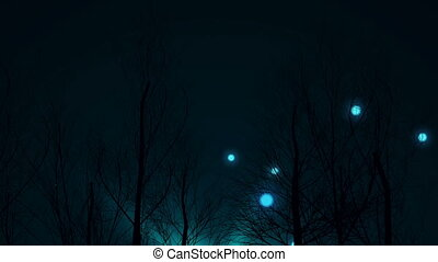 """Magic Blue lights fly up among dark forest trees"" - ""Magic..."