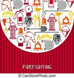 Background with firefighting items. Fire protection equipment