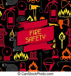 Background with firefighting items. Fire protection...