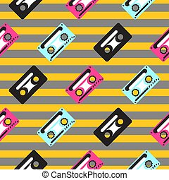 Audio casette vector striped seamless pattern. Pink, blue...