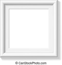 White square picture frame. Wide frame or small picture....