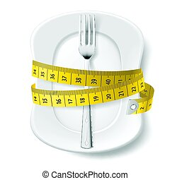 Diet Concept - Clean Plate with Measuring Tape and Fork as...