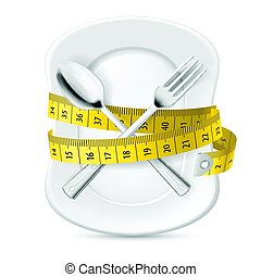 Diet Concept - Plate with Measuring Tape and Crossed Fork...