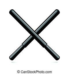 Rubber Batons - Cartoon Illustration of Long Black Rubber...