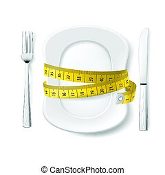 Diet Concept - Plate with Knife, Fork and Measure Tape....