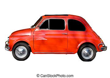 Red car against white background
