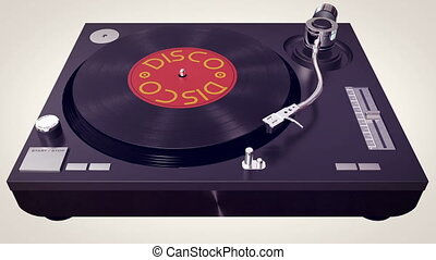 """Vinyl player plays Disco disc. Retro concept """