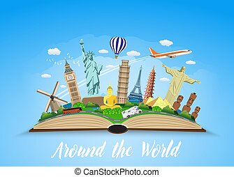 Travel to World. Road trip. Tourism. Open book with...
