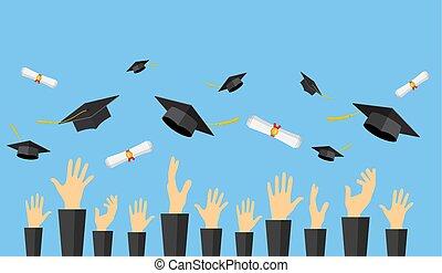 Graduating students of pupil hands