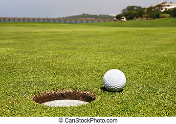 Golf Course - Closeup of a ball on a golf course.
