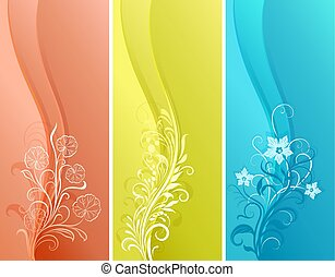 Vertical color floral vector banners in 3 variants.