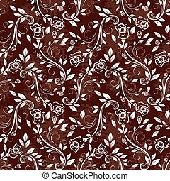 Seamless rose white and brown vector pattern.