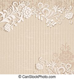 Abstract beige grungy floral background with copy space.
