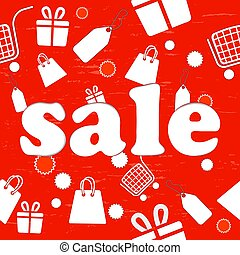 Red seamless sale background with shopping items.
