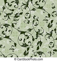 Seamless green floral vintage vector pattern.