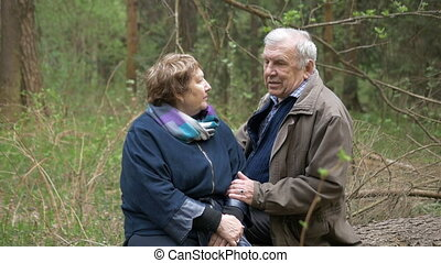 A beautiful aged couple sitting on a fallen tree in a park. They talk gently to hold hands. Loving relationships, healthy life, the age of happiness.