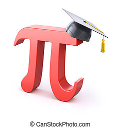 Pi symbol with graduation cap