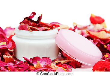 Cosmetic can and rose petals - Cosmetic can and dryed red...