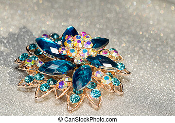 Blue Flower Shaped Brooch - Decorative fashion flower shaped...