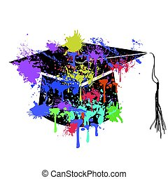 the colorful mortarboard cap - isolated colorful mortarboard...