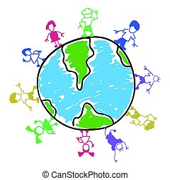 doodle color kids around the world