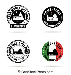 seal of santa maria del fiore italy set illustration - seal...