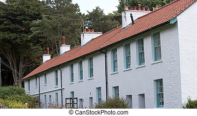 Terraced houses on Caldy Island in Pembrokeshire