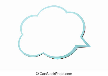 Speech bubble as a cloud with blue border isolated on white...