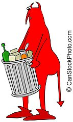 Red devil carrying a garbage can - Illustration of a red...
