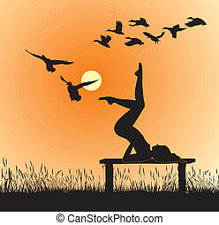 Yoga in Nature - Silhouette of women on the bench yoga...