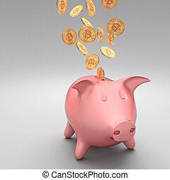 bitcoin and piggybank - classic piggybank and golden bitcoin...