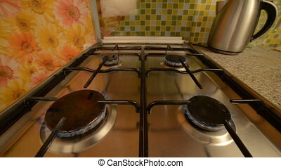 Gas stove in home.