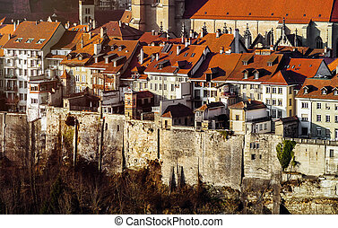 Old buildings of medieval city Fribourg, Switzerland, aerial...
